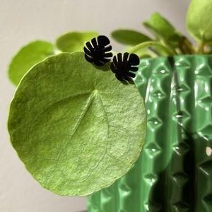 Monstera Deliciosa Leaf black stud earings